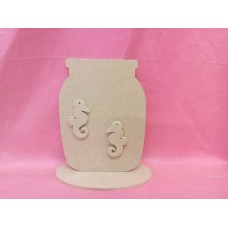 4mm Thick MDF Jar with seahorse
